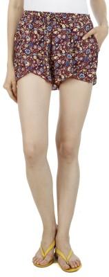 Wineberry Printed Women's Maroon Hotpants