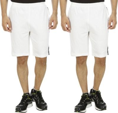 Hardys Solid Men's White Sports Shorts
