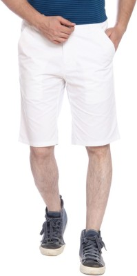 Parx Solid Men's White Basic Shorts