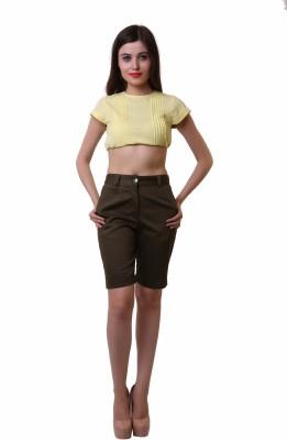 Belle Fille Solid Women,s Brown Basic Shorts