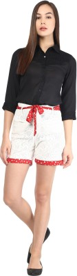The Vanca Printed Women's White Basic Shorts