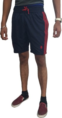 London Eye Solid Men's Blue, Red Sports Shorts