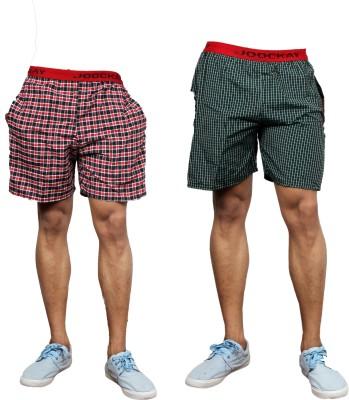 UNO COTTON Checkered Men's Multicolor Night Shorts