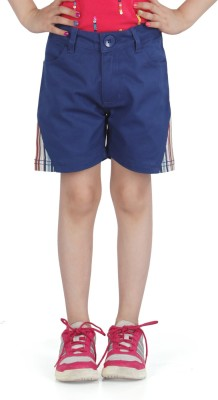 Posh Kids Solid Girl,s Blue Chino Shorts