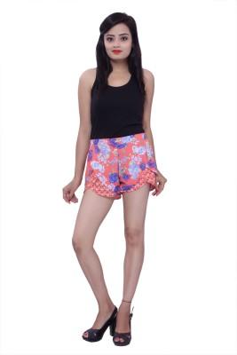 Maya Apparels Floral Print Women's Orange, Blue Hotpants