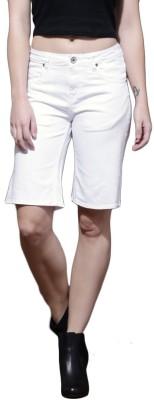 Roadster Solid Women's White Denim Shorts at flipkart