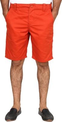 Happy Hippie Solid Men's Orange Basic Shorts