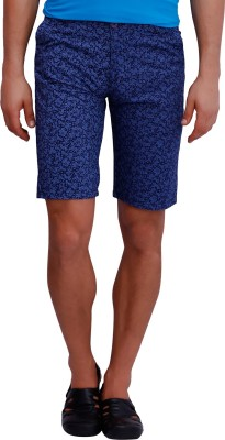 Blue77 Checkered Men's Black, Blue Basic Shorts