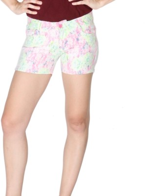 La Vida Self Design Women's White, Pink, Green Basic Shorts