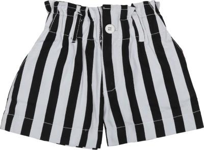 Addyvero Striped Girl's Black, White Basic Shorts