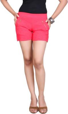 F FASHIONSTYLUS Self Design Women,s Red Beach Shorts, Basic Shorts