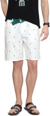People Printed Men's White Denim Shorts