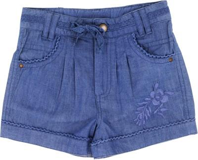 ShopperTree Solid Girl's Denim Blue Denim Shorts
