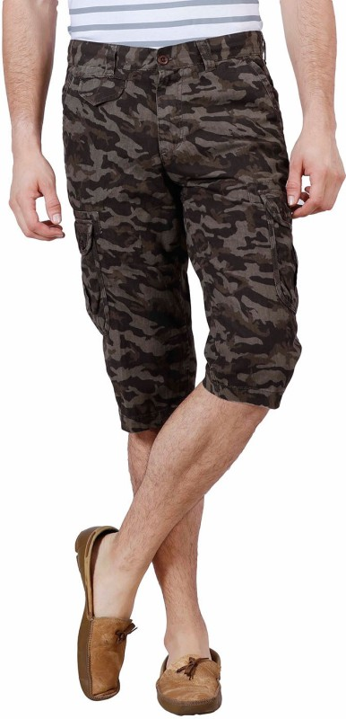J-Stitch Printed Men's Green Cargo Shorts