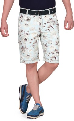 King & I Printed Men's Beige Chino Shorts