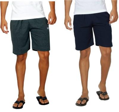 Alan Jones Solid Men,s Grey, Dark Blue Bermuda Shorts, Gym Shorts, Night Shorts, Beach Shorts, Running Shorts, Sports Shorts