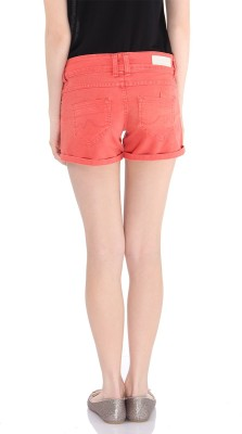 Pepe Jeans Solid Women's Orange Denim Shorts