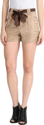 Athena Solid Women's Beige Basic Shorts at flipkart