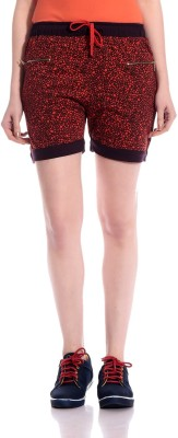 Tab91 Graphic Print Women's Orange Basic Shorts