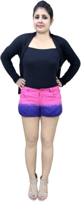 CrazeVilla Solid Women's Pink Hotpants