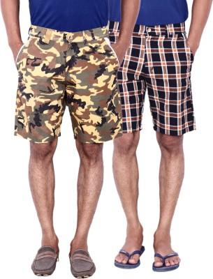 Calloway Checkered Men's Beige, Black, Red Basic Shorts