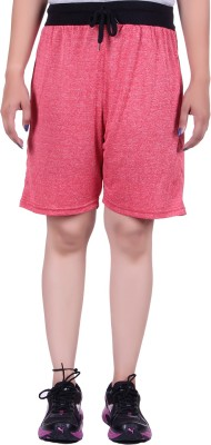 Gag Wear Solid Women's Red Gym Shorts at flipkart