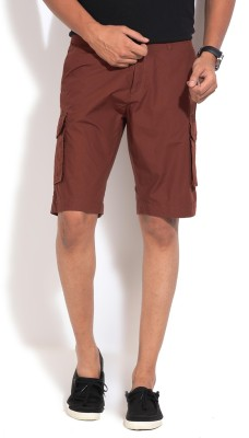 People Solid Men's Brown Basic Shorts