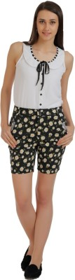 Holidae Floral Print Women's Black, Yellow Basic Shorts
