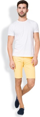 The Indian Garage Co. Solid Men's Yellow Chino Shorts