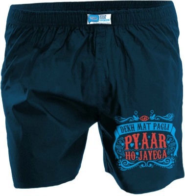 Wear Your Opinion Printed Men's Reversible Dark Blue Boxer Shorts