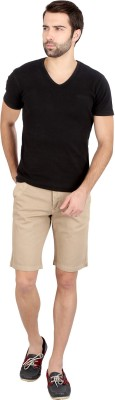 Caricature Solid Men's Beige Basic Shorts