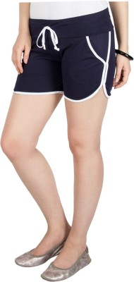 Campus Sutra Solid Womens Dark Blue Basic Shorts