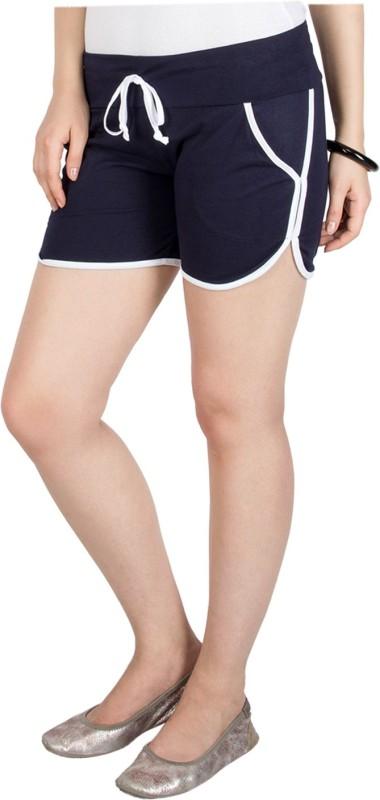 Campus Sutra Solid Women's Dark Blue Basic Shorts