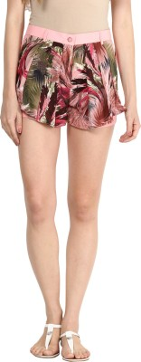 Athena Printed Women's Pink Basic Shorts at flipkart
