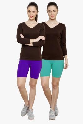 Softrose Solid Women's Purple, Light Green Cycling Shorts
