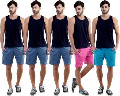 Dee Mannequin Self Design Men's Dark Blue, Dark Blue, Dark Blue, Pink, Blue Sports Shorts