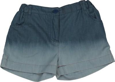 My Lil,Berry Self Design Girl's Denim Blue Denim Shorts