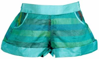 Lil Poppets Striped Girl's Green Basic Shorts