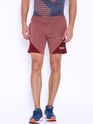 Le Bison Solid Men's Maroon Gym Shorts