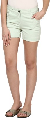 Species Solid Women's Light Green Basic Shorts