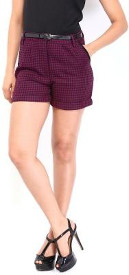 Dressberry Geometric Print Women's Black Basic Shorts at flipkart