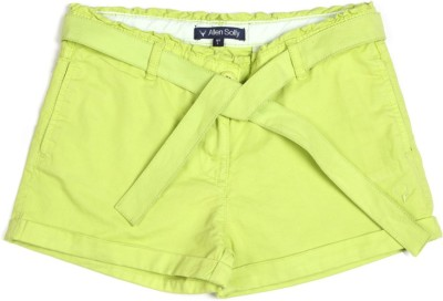 Allen Solly Solid Girl's Green Basic Shorts