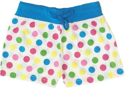 Tomato Polka Print Girl's White, Blue Basic Shorts