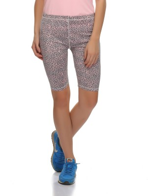 Clovia Animal Print Women's Grey Gym Shorts at flipkart