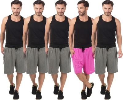 Meebaw Self Design Men,s Grey, Grey, Grey, Grey, Pink Sports Shorts