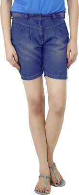 Uber Urban Solid Women's Dark Blue Basic Shorts at flipkart