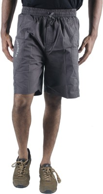 0-Degree Solid Mens Grey Chino Shorts