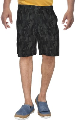 Clickroo Printed Men's Dark Green Basic Shorts