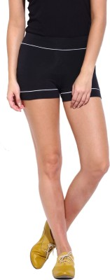ESPRESSO Solid Womens Black Basic Shorts