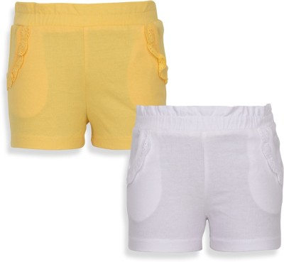Mothercare Solid Baby Girl's White, Yellow Basic Shorts